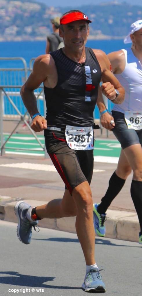 Frederic Clapier lors de l'ironman france nice, sur la partie marathon